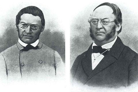 The founders of the Glasfabrik Crengeldanz: On the right, Gustav Müllensiefen (1799 - 1874) and on the left, Theodor Müllensiefen (1802 – 1879).