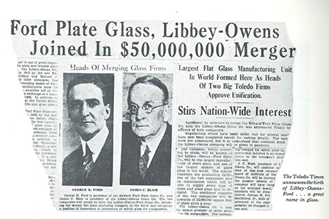 The Toledo Times announced the birth of Libbey-Owens-Ford… a great name in glass.