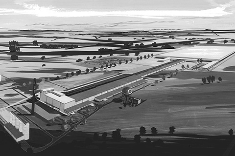 An artists' rendering of Laurinburg plant.