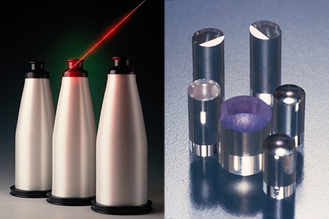 Continuous glass fiber (left) and SELFOC™ Micro Lens (SML) (Right)